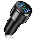 4.8A Car Charger Adapter Dual USB Twin Port Cigarette Lighter USB Charger Universal Fast Charging K10 Black