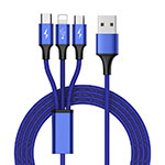 Charger Lightning USB Data Cable Charging Cord and Android Micro USB Type-C ML01 Blue