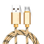 Charger Micro USB Data Cable Charging Cord Android Universal M01 Gold