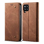 Cloth Case Stands Flip Cover for Samsung Galaxy A42 5G Brown