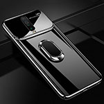Hard Rigid Plastic Matte Finish Case Cover with Magnetic Finger Ring Stand A02 for Xiaomi Redmi K30 5G Black