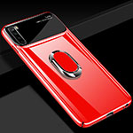 Hard Rigid Plastic Matte Finish Case Cover with Magnetic Finger Ring Stand P03 for Xiaomi Redmi Note 8 Red