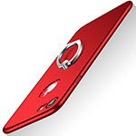 Hard Rigid Plastic Matte Finish Cover with Finger Ring Stand A02 for Apple iPhone SE (2020) Red