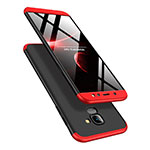 Hard Rigid Plastic Matte Finish Front and Back Case 360 Degrees Q01 for Samsung Galaxy A6 (2018) Red and Black