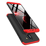 Hard Rigid Plastic Matte Finish Front and Back Case 360 Degrees Q02 for Samsung Galaxy A9 Star Lite Red and Black