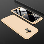 Hard Rigid Plastic Matte Finish Front and Back Cover Case 360 Degrees for Samsung Galaxy A6 (2018) Gold