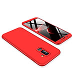 Hard Rigid Plastic Matte Finish Front and Back Cover Case 360 Degrees for Samsung Galaxy A6 Plus Red
