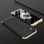 Hard Rigid Plastic Matte Finish Front and Back Cover Case 360 Degrees for Xiaomi Mi 6X Gold and Black