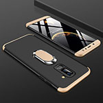 Hard Rigid Plastic Matte Finish Front and Back Cover Case 360 Degrees with Finger Ring Stand for Samsung Galaxy A6 Plus Gold and Black