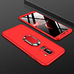 Hard Rigid Plastic Matte Finish Front and Back Cover Case 360 Degrees with Finger Ring Stand for Samsung Galaxy A6 Plus Red