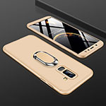 Hard Rigid Plastic Matte Finish Front and Back Cover Case 360 Degrees with Finger Ring Stand for Samsung Galaxy A9 Star Lite Gold