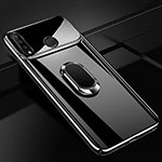 Hard Rigid Plastic Mirror Cover Case 360 Degrees Magnetic Finger Ring Stand for Huawei P30 Lite Black