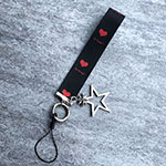 Lanyard Cell Phone Finger Ring Strap Universal K01 Red and Black