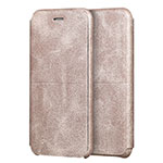 Leather Case Stands Flip Cover for Apple iPhone SE (2020) Gold