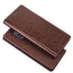 Leather Case Stands Flip Cover L01 for Samsung Galaxy A6 (2018) Brown