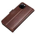 Leather Case Stands Flip Cover L01 Holder for Apple iPhone 11 Pro Brown