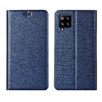 Leather Case Stands Flip Cover L02 Holder for Samsung Galaxy A42 5G Blue