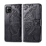 Leather Case Stands Flip Cover L03 Holder for Samsung Galaxy A42 5G Black
