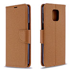Leather Case Stands Flip Cover L03 Holder for Xiaomi Redmi Note 9 Pro Brown