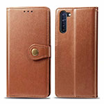 Leather Case Stands Flip Cover L06 Holder for Oppo Reno3 A Brown