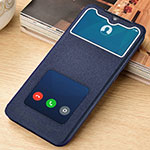 Leather Case Stands Flip Cover L06 Holder for Xiaomi Redmi Note 8 Pro Blue