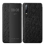 Leather Case Stands Flip Cover P02 Holder for Huawei P30 Black