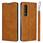 Leather Case Stands Flip Cover S02 Holder for Oppo Find X2 Pro Light Brown