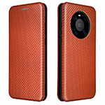 Leather Case Stands Flip Cover T01 Holder for Huawei Mate 40 Pro Brown
