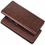 Leather Case Stands Flip Cover T01 Holder for Xiaomi Mi 9T Pro Brown