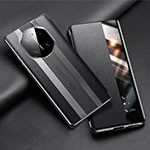 Leather Case Stands Flip Cover T02 Holder for Huawei Mate 40 Pro Black