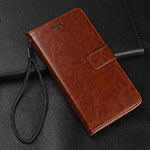 Leather Case Stands Flip Cover T02 Holder for Xiaomi Redmi Note 8 Pro Brown