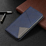 Leather Case Stands Flip Cover T02 Holder for Xiaomi Redmi Note 9 Pro Blue