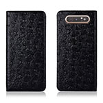 Leather Case Stands Flip Cover T04 Holder for Samsung Galaxy A80 Black