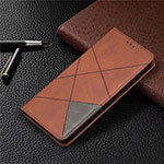Leather Case Stands Flip Cover T04 Holder for Xiaomi Mi 10T Lite 5G Brown