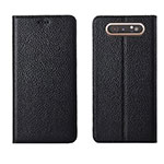 Leather Case Stands Flip Cover T05 Holder for Samsung Galaxy A80 Black