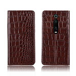Leather Case Stands Flip Cover T05 Holder for Xiaomi Mi 9T Pro Brown