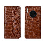 Leather Case Stands Flip Cover T06 Holder for Huawei Mate 30 Pro Orange