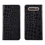Leather Case Stands Flip Cover T06 Holder for Samsung Galaxy A80 Black