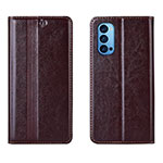 Leather Case Stands Flip Cover T07 Holder for Oppo Reno4 Pro 5G Brown