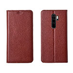 Leather Case Stands Flip Cover T08 Holder for Xiaomi Redmi Note 8 Pro Brown