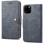 Leather Case Stands Flip Cover T09 Holder for Apple iPhone 11 Pro Max Gray