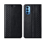 Leather Case Stands Flip Cover T09 Holder for Oppo Reno4 Pro 5G Black