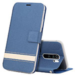 Leather Case Stands Flip Cover T10 Holder for Xiaomi Redmi Note 8 Pro Blue