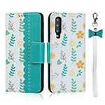 Leather Case Stands Flip Cover T12 Holder for Huawei P30 Cyan