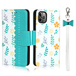 Leather Case Stands Flip Cover T14 Holder for Apple iPhone 11 Pro Cyan
