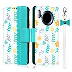 Leather Case Stands Flip Cover T15 Holder for Huawei Mate 30 Pro Cyan