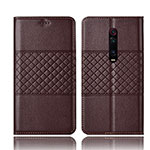 Leather Case Stands Flip Cover T15 Holder for Xiaomi Mi 9T Pro Brown