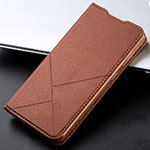 Leather Case Stands Flip Cover T15 Holder for Xiaomi Redmi Note 8 Pro Brown