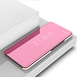 Leather Case Stands Flip Mirror Cover Holder for Oppo Reno4 Pro 5G Rose Gold