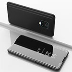Leather Case Stands Flip Mirror Cover Holder for Xiaomi Redmi Note 9 Pro Black
